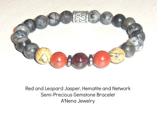 Mens Bracelet Red and Leopard Jasper Hematite and by ANenaJewelry