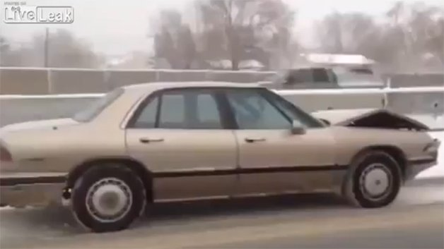 Watch this phantom Buick drive itself down the highway in a snow storm