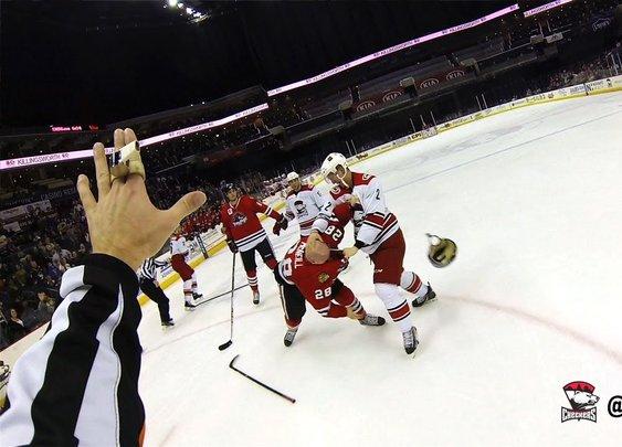 AHL referee wears helmet cam - YouTube