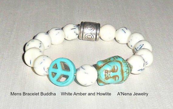 Men's Bracelet Buddha White Amber and Howlite by ANenaJewelry