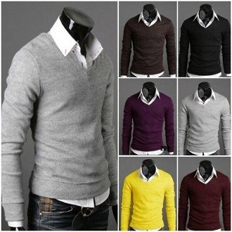 Men's Knit V-Neck Sweater
