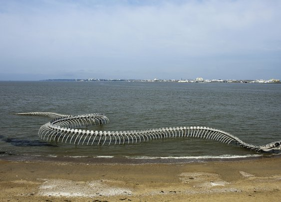 Giant Serpent Skeleton Sculpture