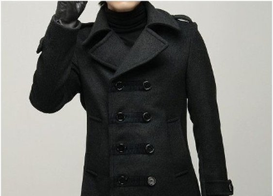 Men's Dark Gray Double Breasted Wool Blends Coat CLAM767890E