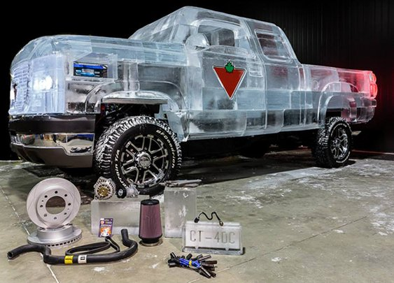 A Working Canadian Tire Truck Built Out of 11,000 Pounds of Ice