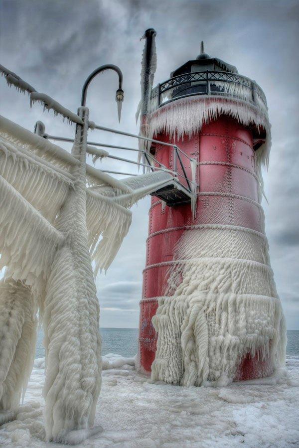 Beautiful Frozen Lighthouses on Lake Michigan