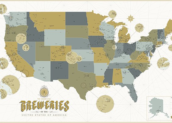 A Wall Map Featuring Over 2,500 'Bountiful Breweries of the United States of America' by Pop Chart Lab