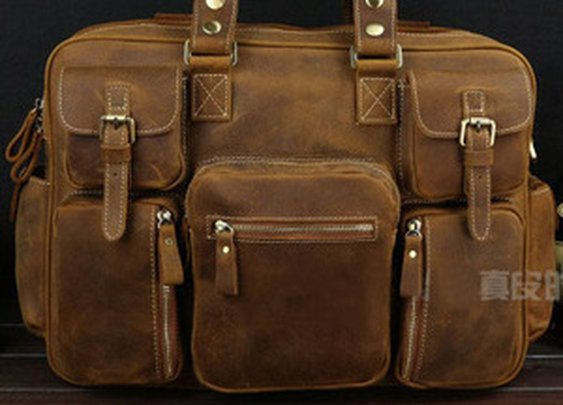 Leather Family — Best Gift Crazy Horse Leather Briefcase Laptop Bag Dispatch Shoulder Huge Duffle Brown Yellow