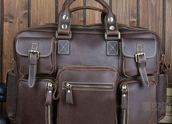 Leather Family — Best Gift Crazy Horse Leather Briefcase Laptop Bag Dispatch Shoulder Huge Duffle Brown Coffee