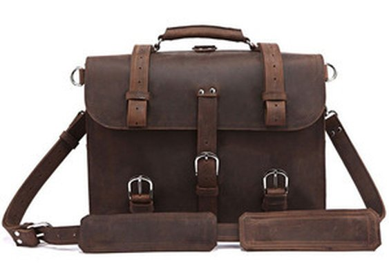 Leather Family — Versatile Vintage Classic Crazy Horse Leather Briefcase Handbag/Backpack/Travel Bag/Laptop Bag