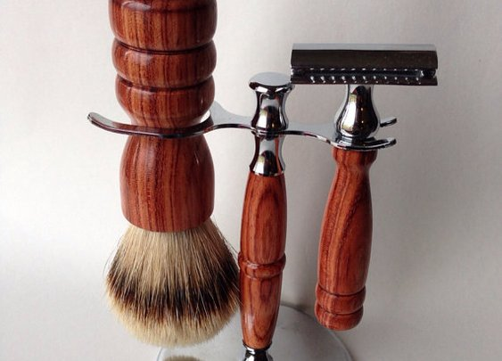 High Mountain White Shaving Set Brush Double by RoaringShepherd