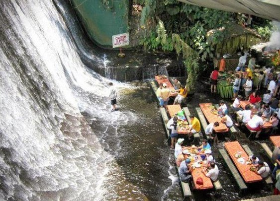 VILLA ESCUDERO WATERFALL RESTAURANT IN THE PHILIPPINES