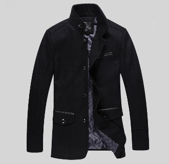 Men's Stand Up Collar Jacket with Plaid Details