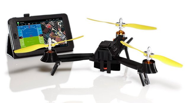 Tricopter drone carries a camera, follows you by tracking your smartphone