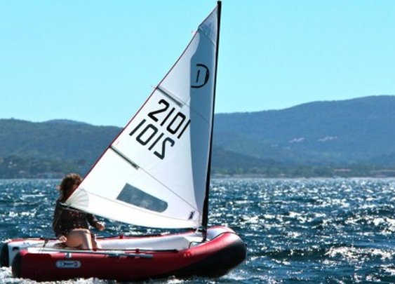 DinghyGo 2 inflatable 3-in-1 sailboat swims via wind, rowing or motor