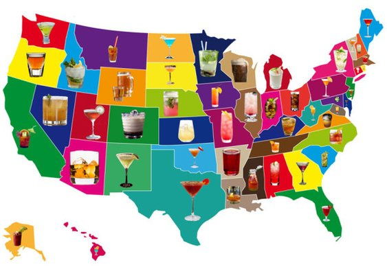 A Map of Signature Cocktails by US State