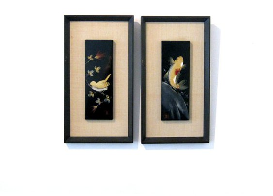 Vintage pair Japanese black and gold lacquerware panel by evaelena