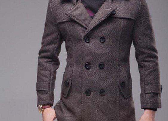 Men's Double Breast Woolen Coat with Belt