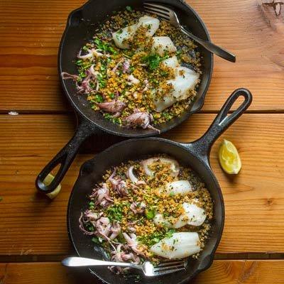Seared Calamari with Breadcrumbs and Lemon Recipe