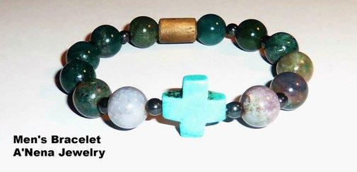 Men's Bracelet  Fancy Jasper Howlite Cross by ANenaJewelry on Etsy