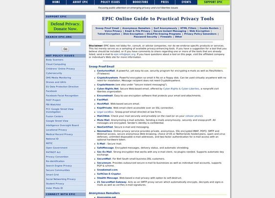 EPIC - EPIC Online Guide to Practical Privacy Tools - StumbleUpon