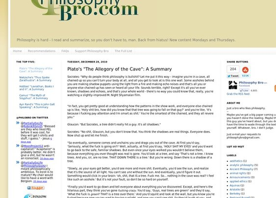 "Philosophy Bro: Plato's ""The Allegory of the Cave"": A Summary - StumbleUpon"