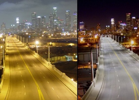 LA switches from sodium-vapor to LED street lights.