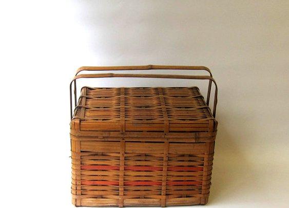 Vintage Mid century 1950s split cane picnic basket by evaelena