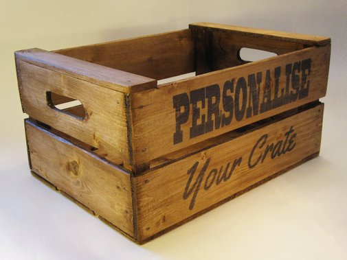 Personalised Wooden Crate uk Handmade Vintage Style by DeadravenCo