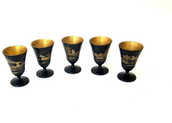 Vintage Japanese hand painted black and gold lacquer by evaelena