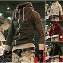 Men's Zipper Hoodie with High Collar Stripped Hood