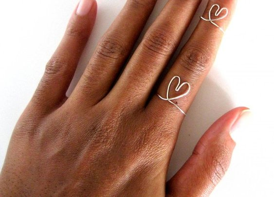 Adjustable Sterling Silver Heart Rings