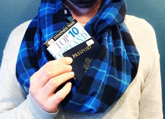 Travel scarf with hidden pocket