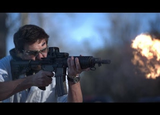 Extreme Slow Motion Video of a Fully Automatic M4 Carbine Assault Rifle Being Shot