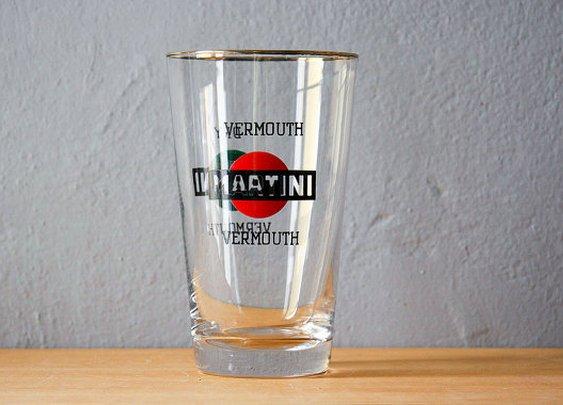 Martini dry shaker glass vintage 1960s bar glass