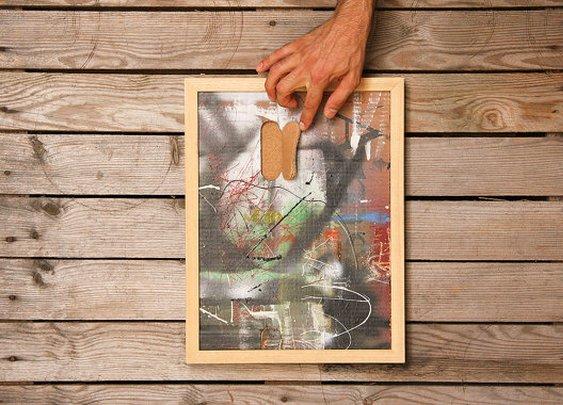 Graffiti framed wall art  modern upcycled by LaBottegaDegliUsvei