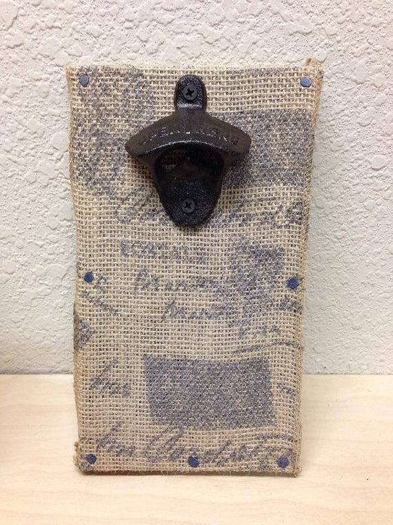 Burlap Magnetic Bottle Opener Rare earth magnet by LankfordManor