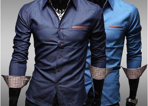 Men's Denim Shirt with Inner Plaid Details