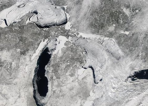Ice-covered Great Lakes seen from space - CBS News