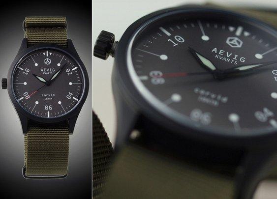 Aevig Corvid Classic Quartz Field Watch
