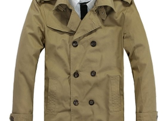 Men's Double Breasted Short Trench Jacket