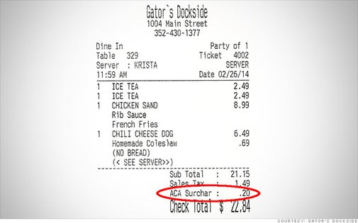 Restaurant Chain Charging Customers Obamacare Surcharge
