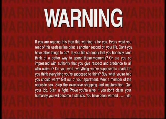 Fight Club FBI Warning message