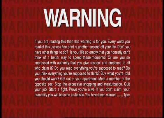 Fight Club FBI Warning message