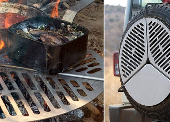 Camping Grill Clamps On To Your Car's Spare Tire