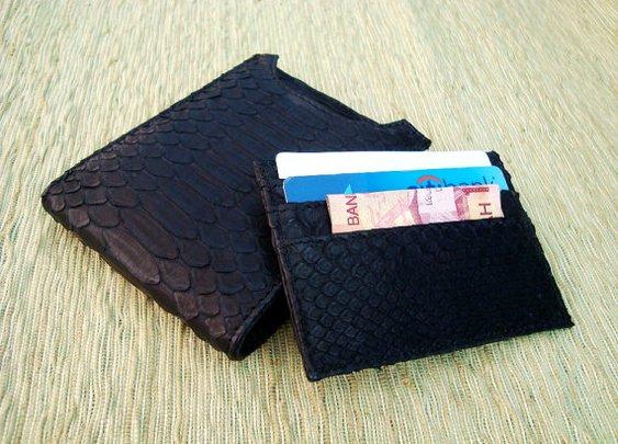 Snakeskin Black Leather Men Wallet. by mrhanz on Etsy