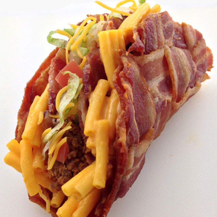Dude Foods - The Double Decker Mac 'n Cheese Stuffed Bacon Weave Taco - Thrillist Nation