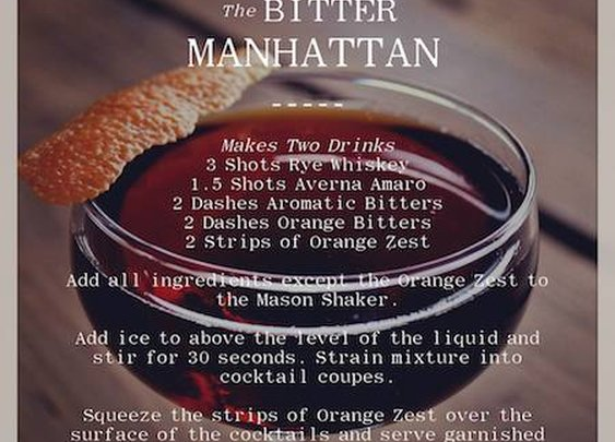 Mason Shaker Bitter Manhattan Cocktail
