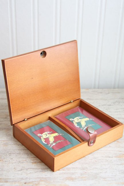 Baseball Playing Cards Vintage Playing Cards Wood by MollyFinds