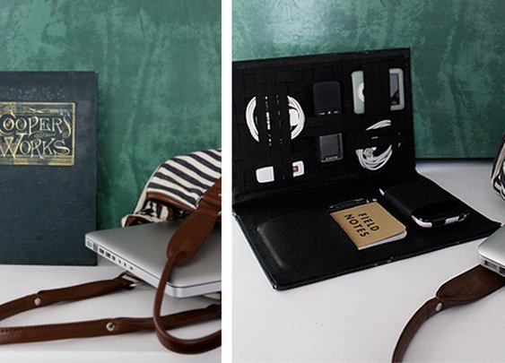 DIY project: book travel-tech organizer | Design*Sponge
