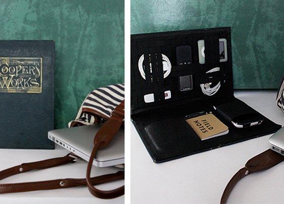 DIY project: book travel-tech organizer   Design*Sponge